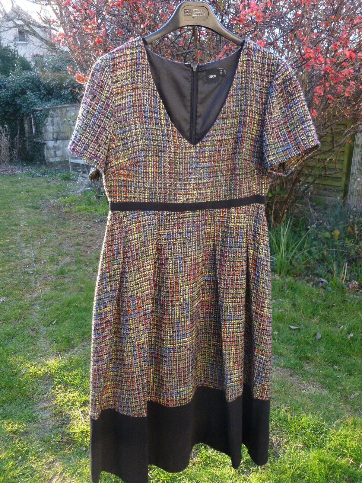 Robe très originale asos tweed coloré ,t40, parfait état