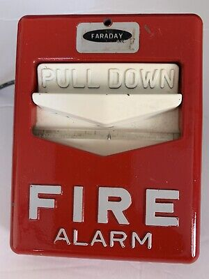 Vintage Faraday Fire Alarm Metal Pull Station Cfigt Pre-owned With Glass Tube