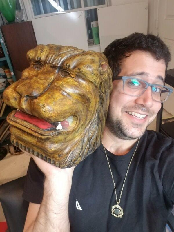Huge Vintage Carved Wood Lion Bust