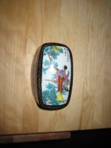Vintage Chinese Wooden Trinket Box with Colorful Porcelain Top Hand Painted