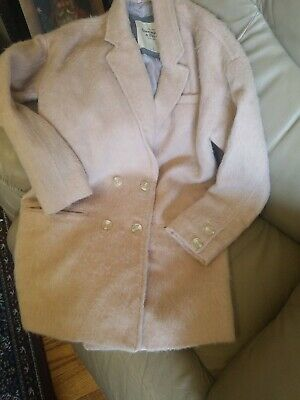 ABERCROMBIE & FITCH WOMEN'S DOUBLE BREASTED PASTEL PINK WOOL ALPACA COAT SMALL
