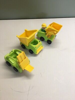 Vintage 1970's Fisher Price Little People Construction Tractors Lot Set Of 3
