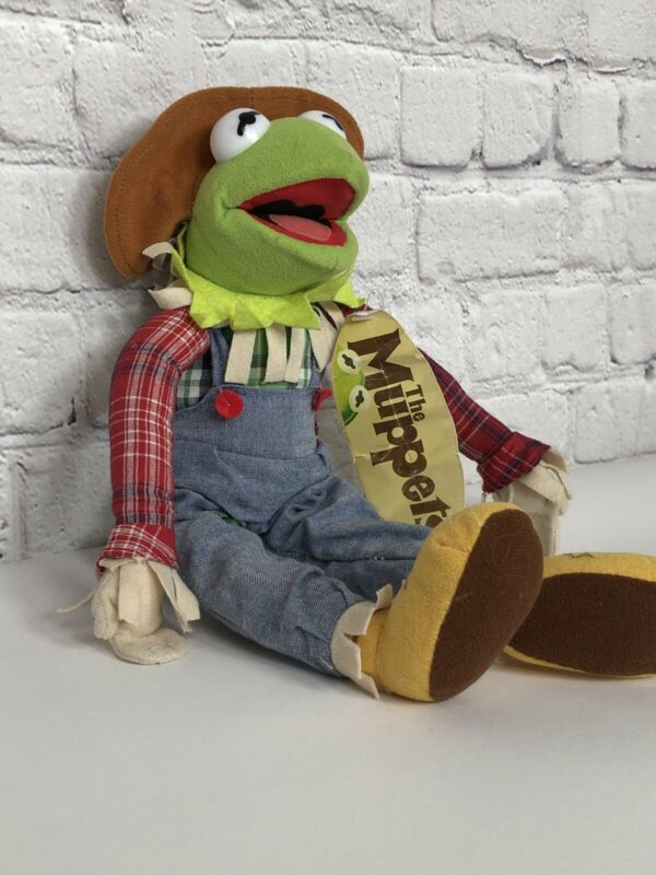 The Muppets Rare Kermit The Frog Scarecrow Halloween Plush with tag Nanco