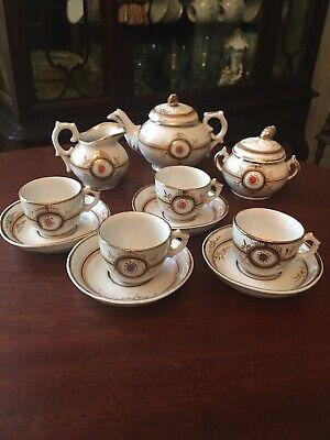 AMAZING ANTIQUE DOLL/CHILD PORCELAIN TEA SET,Victorian Unmarked