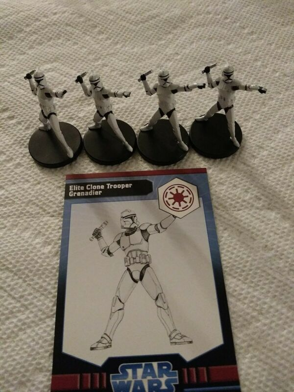 Star Wars Miniatures The Clone Wars Elite Clone Trooper Grenadier #11/40 lot 4