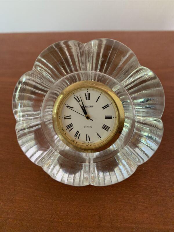Staiger Crystal Diamond-Shape Desk Clock Quartz  (Mvmt-Japan) Roman Numeral Face