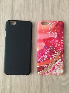 Plain black and peachy/red floral iPhone 6/6S covers