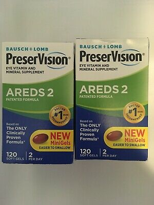 Bausch Lomb Preservision AREDS 2 Formula New MiniGels* 120ct - Lot Of (Bausch And Lomb Preservision Areds 2 Formula)