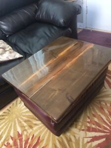 Beautiful Handcrafted Table top w/Leather Ottoman