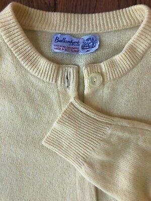 Ballantyne Vintage Cashmere Cardigan Sweater 40 Yellow