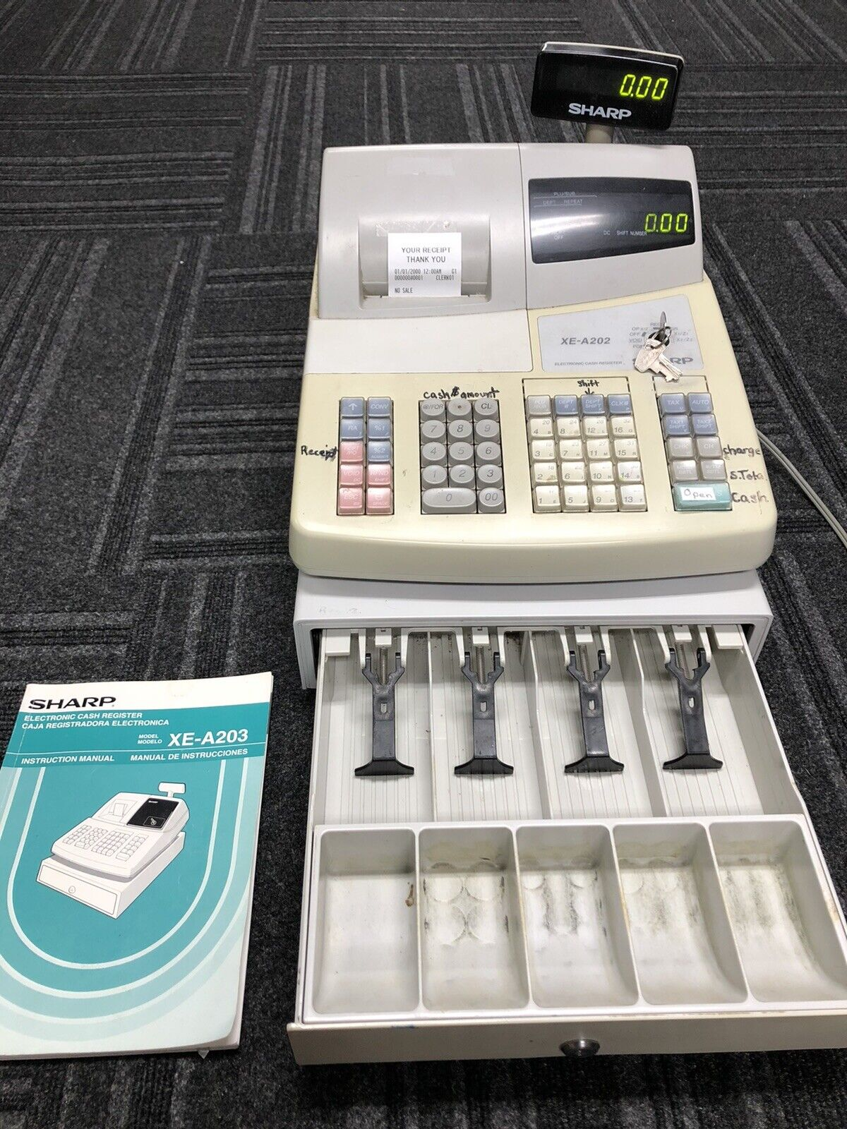 SHARP XE-A202 Cash Register With Keys and Instructions