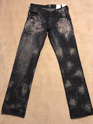 PRPS GOODS & CO. BARRACUDA Acid Red Stained Mens 32 x 34 Dark Indigo Jeans $325+ Blue Acid Stain