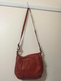 FOSSIL red orange genuine leather bag Petersham Marrickville Area Preview