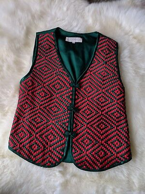 A.To.te.to Red & Green Silk Christmas Holiday Handwoven Vest Size XL ()