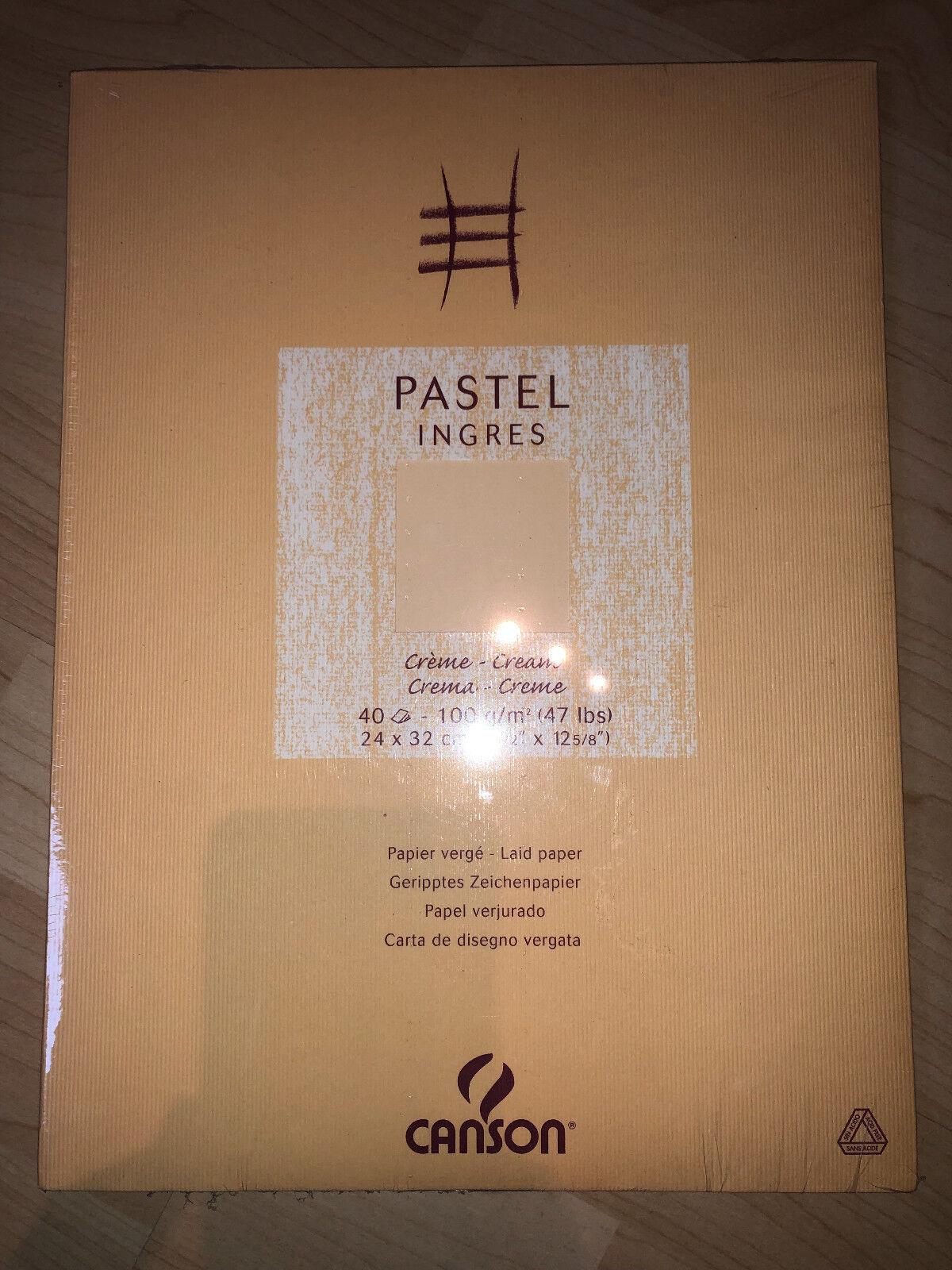 40 Bl. Pastellpapier Canson Ingres Pastellblock 24x32cm 100g/qm Creme