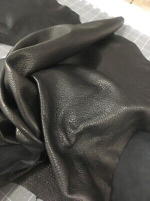 Lambskin Leather Hide Pliable Pebbled 2 OZ Natural Drum Dyed Black - Black Raw Leather