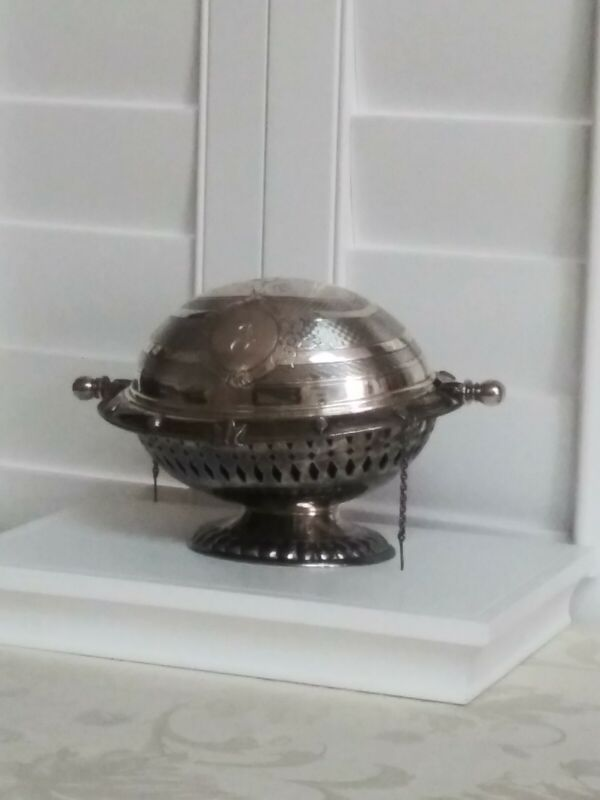 Vintage Silverplated Ornate  Design Swivel Covered top Butter Dish Compote. Used