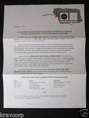 KATE BUSH—1994 PRESS RELEASE—'THE LINE, THE CROSS & THE CURVE'