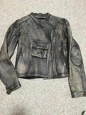 ISAAC SELLAM EXPERIENCE Distressed Grey Leather Moto Jacket Medium New W/o Tags