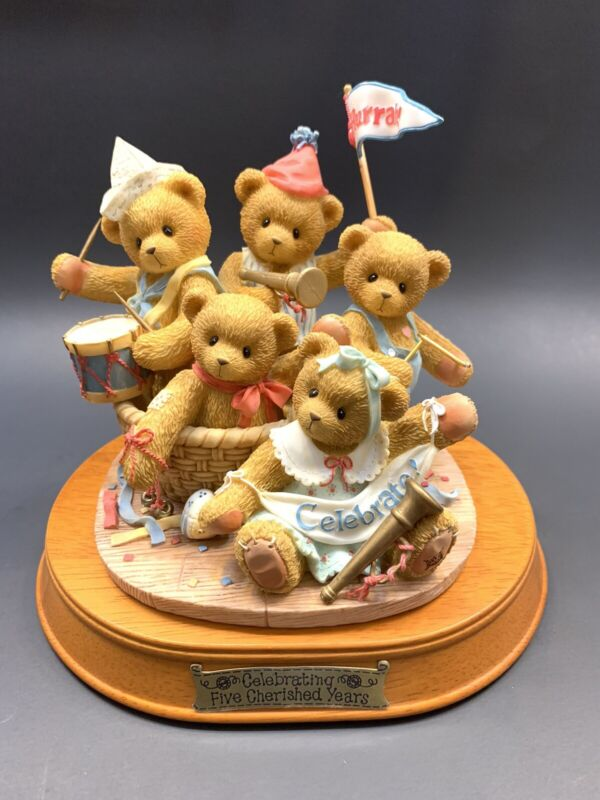 Cherished teddies celebrating five cherished years decor pre owned figurines.