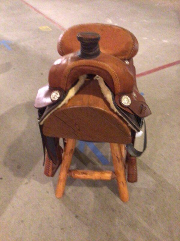Pair Of Vintage Western Swivel Saddle Stools