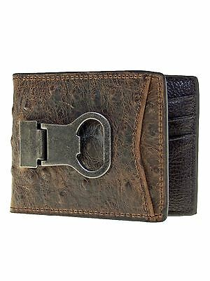 - Nocona DBL Barrel Mens Western Bi-fold Bottle Cap Money Clip Ostrich Look Brown