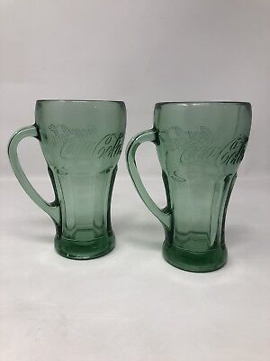 Vintage Collectable Coca-Cola 12 oz. Mugs Thick glass w/green tint