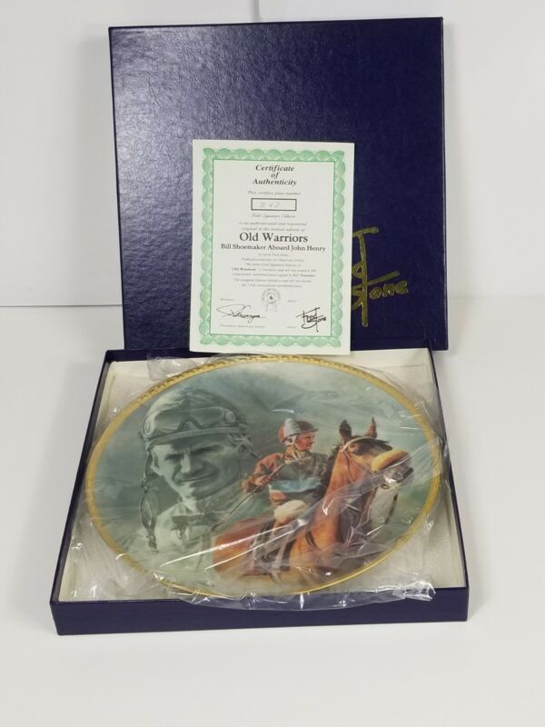 """Fred Stone Old Warriors Horse  Plate #347 10"""" Signed Bill Shoemaker W Catalogue"""