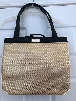 New VERSACE Parfums Black and Gold Weekender Tote Purse Handbag Travel Bag