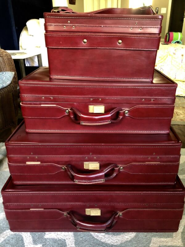 Vintage Hartmann RED Hard Luggage Suitcase Train Case Set of 4 Near Perfect!