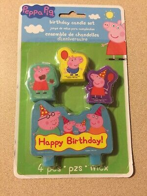 Peppa Pig Cake Topper (Peppa Pig CANDLE SET 4pcs ~ Happy Birthday Party Supplies Cake)