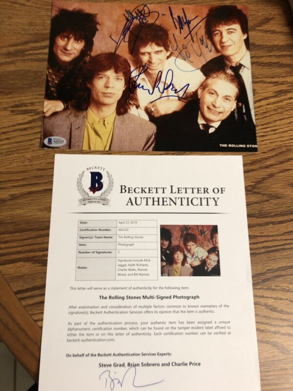 Autographed Rolling Stones 8x10 Photo Mick Jagger Keith Richards 3 Beckett Signe