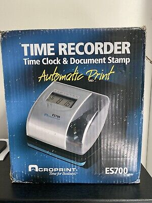 Acroprint Es700 Digital Automatic Time Recorder Time Clock Document Stamp.
