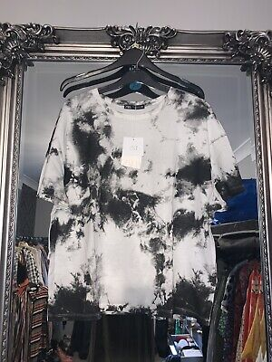ZARA Monochrome Tie Dye T-shirt Size Medium Brand New