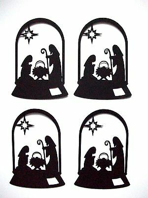 8 Dome Nativity Christmas Silhouette Die Cuts, Black