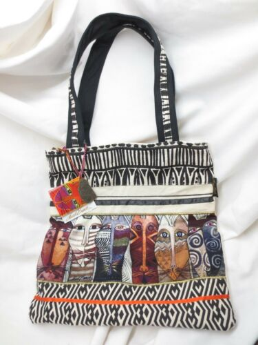 Laurel Burch Native Felines Tote Shoulder Bag NEW NWT Zippered Purse Canvas CATS