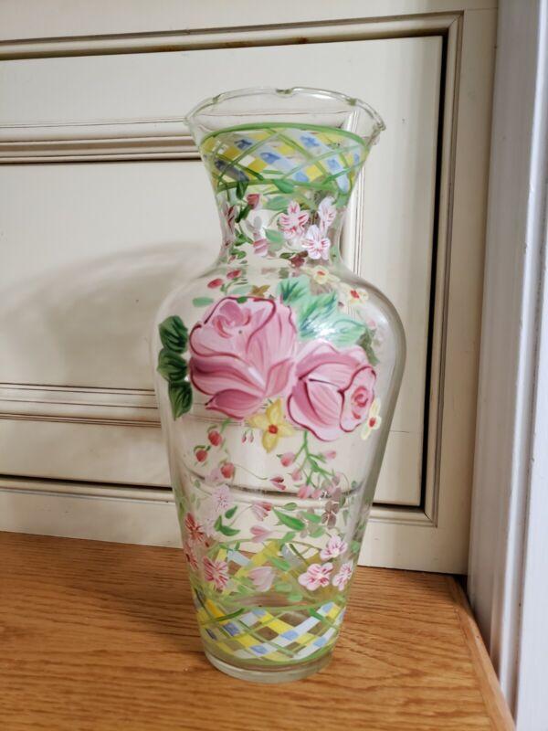 """""Waverly Garden Room Masterpiece"" RARE HAND PAINTED GLASS FLOWER VASE, FLORAL"