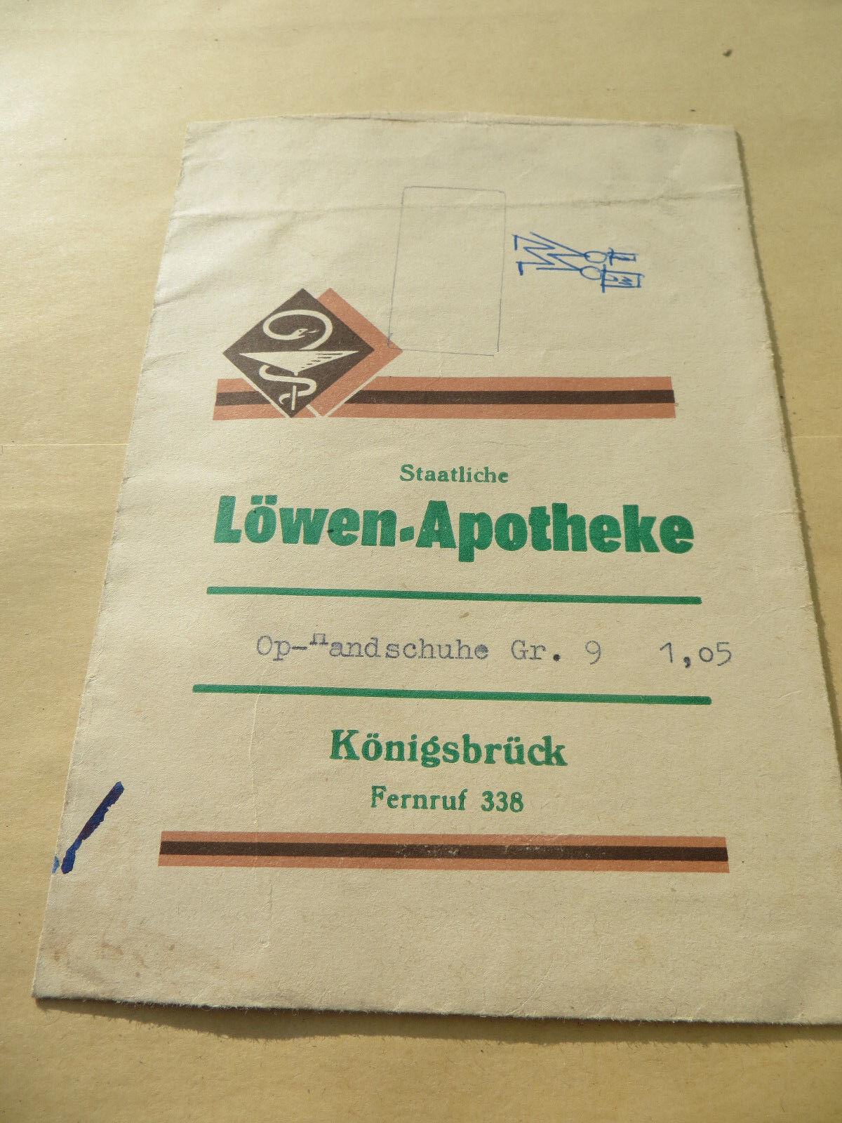 Verpackungstüte Löwen Apotheke  Königsbrück DDR OP Handschuhe