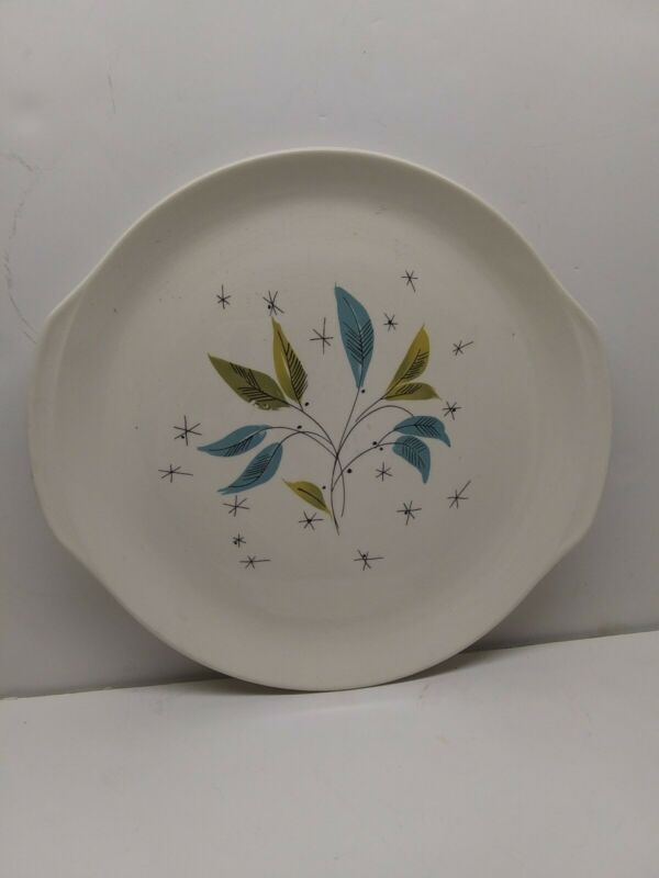 "Salem China Vintage Serving Plate ""Daybreak Freeform"" Leaves Atomic Starburst"