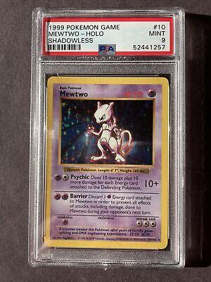 PSA 9 1999 Mewtwo Shadowless Holo Pokemon Base Set #10/102 MINT