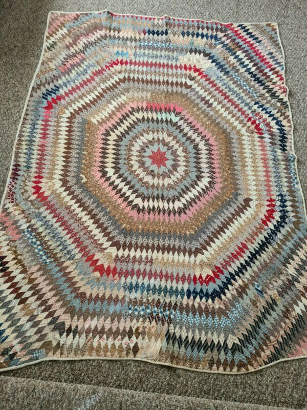 Antique 1860s Sunburst Star of Bethlehem Lone star  Diamond Quilt ~ Fed Sack