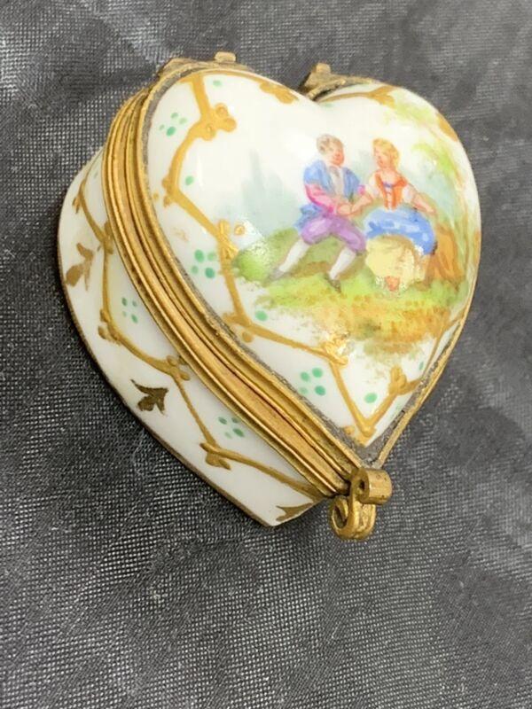 Antique Sevres French Porcelain Hard Paste Trinket Box Bronze Mount 1809 Mark