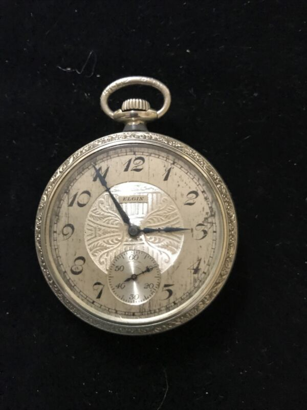 Antique 1921 Elgin 17 Jewels Pocket Watch White Gold Filled 10yr Case As Is