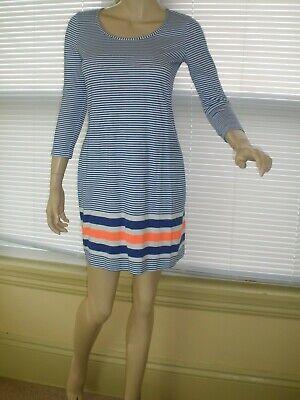 Lily Pulitzer 3/4 Sleeve Blue/White & Orange Striped Beacon Shift Dress XS NWOT 3/4 Sleeve Shift Dress