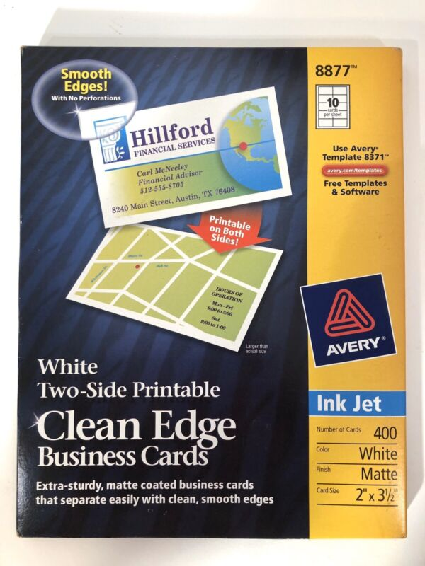 Avery 8877 Clean Edge Matte White Business Cards Ink Jet Extra Sturdy 400 New!