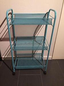 aqua blue bathroom kitchen trolley - wire 3 tier shelf and wheels Paddington Brisbane North West Preview