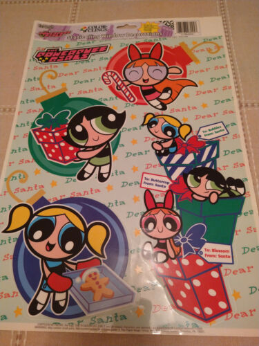 POWER PUFF GIRLS Christmas  HOLIDAY WINDOW CLINGS 2000 Vintage New