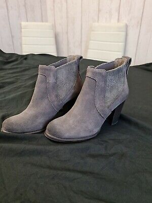 UGG Grey Suede Heeled Ankle Boots Size UK 3.5