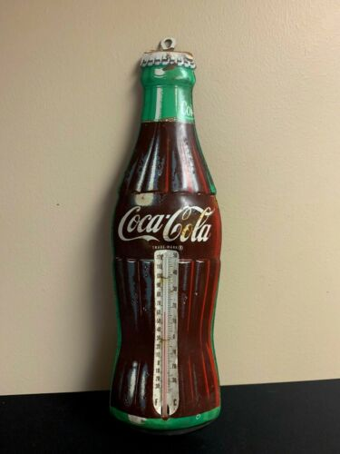 Vintage COCA COLA Bottle Metal Thermometer By Donasco Made In USA
