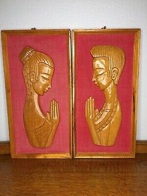 PAIR Vintage MID-CENTURY MODERN Asian Carved Wood & Burlap Framed Wall Art 🖼